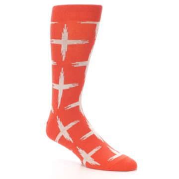 Image of Orange White Cross Pattern Men's Dress Socks (side-1-27)