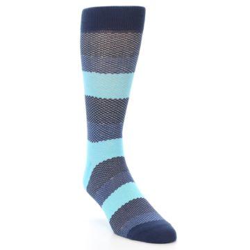 Image of Blues Navy Stripe Men's Dress Socks (side-1-front-02)