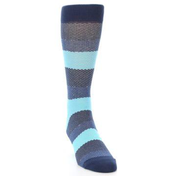 Image of Blues Navy Stripe Men's Dress Socks (side-1-front-03)