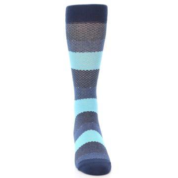 Image of Blues Navy Stripe Men's Dress Socks (front-04)