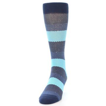 Image of Blues Navy Stripe Men's Dress Socks (side-2-front-06)