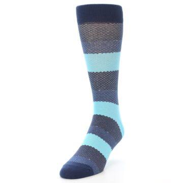 Image of Blues Navy Stripe Men's Dress Socks (side-2-front-07)