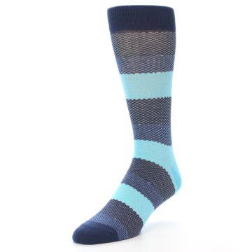 Image of Blues Navy Stripe Men's Dress Socks (side-2-front-08)