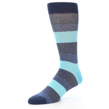 Image of Blues Navy Stripe Men's Dress Socks (side-2-09)