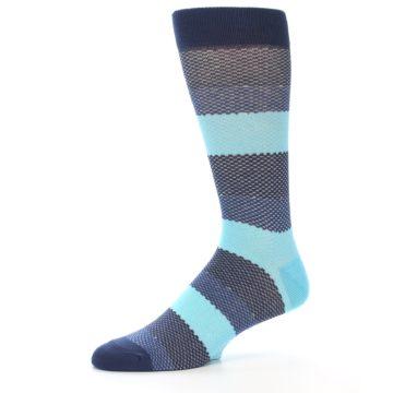 Image of Blues Navy Stripe Men's Dress Socks (side-2-10)