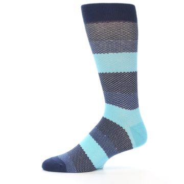 Image of Blues Navy Stripe Men's Dress Socks (side-2-11)