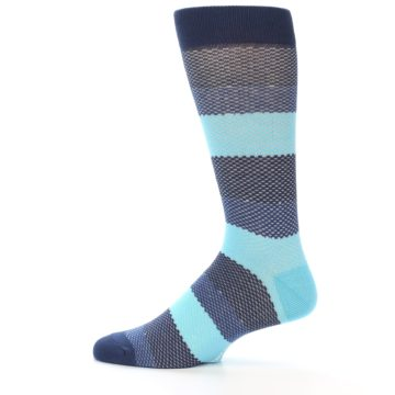 Image of Blues Navy Stripe Men's Dress Socks (side-2-12)