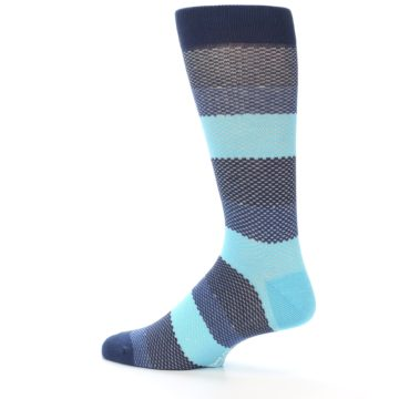Image of Blues Navy Stripe Men's Dress Socks (side-2-13)
