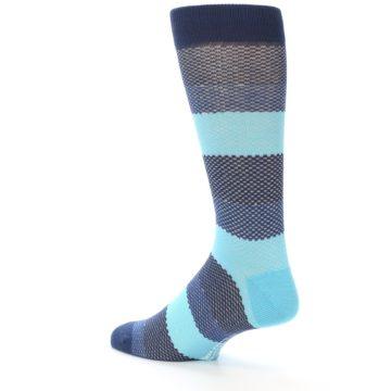 Image of Blues Navy Stripe Men's Dress Socks (side-2-back-14)