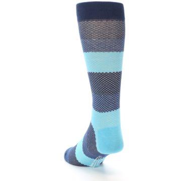 Image of Blues Navy Stripe Men's Dress Socks (side-2-back-16)