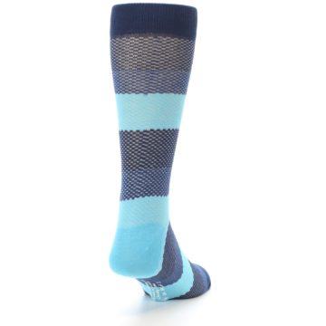 Image of Blues Navy Stripe Men's Dress Socks (side-1-back-20)