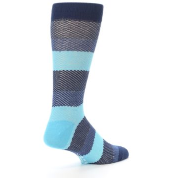Image of Blues Navy Stripe Men's Dress Socks (side-1-back-22)