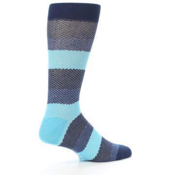 Image of Blues Navy Stripe Men's Dress Socks (side-1-23)