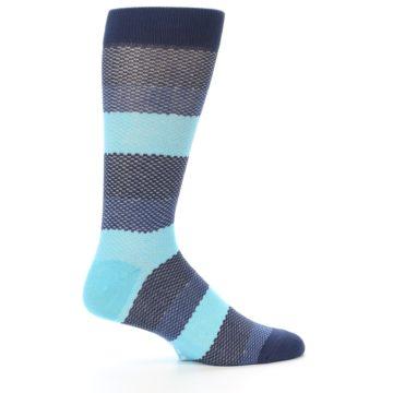 Image of Blues Navy Stripe Men's Dress Socks (side-1-24)