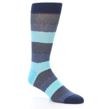 Image of Blues Navy Stripe Men's Dress Socks (side-1-27)
