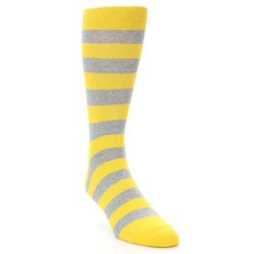 Image of Yellow Grey Stripe Men's Dress Socks (side-1-front-02)