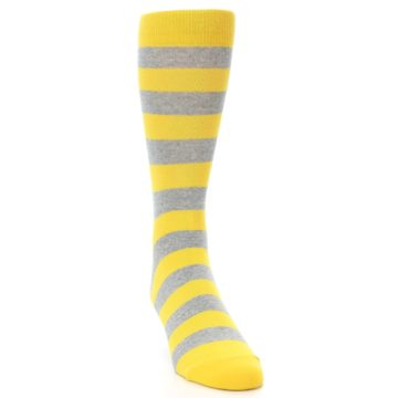 Image of Yellow Grey Stripe Men's Dress Socks (side-1-front-03)