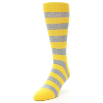 Image of Yellow Grey Stripe Men's Dress Socks (side-2-front-07)