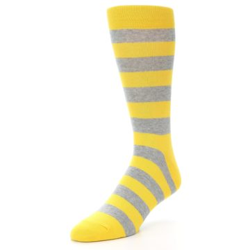 Image of Yellow Grey Stripe Men's Dress Socks (side-2-front-08)