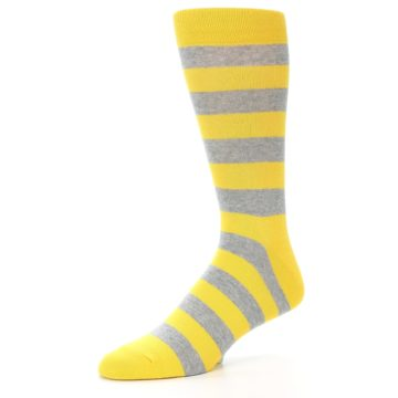 Image of Yellow Grey Stripe Men's Dress Socks (side-2-09)