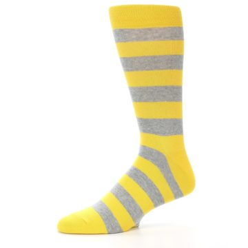 Image of Yellow Grey Stripe Men's Dress Socks (side-2-10)