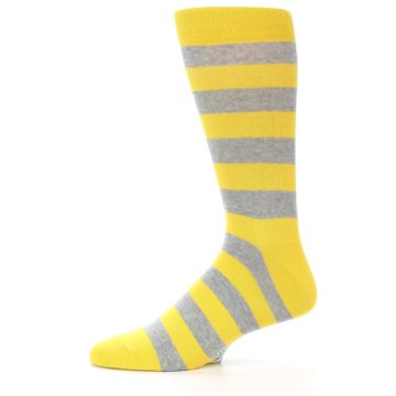 Image of Yellow Grey Stripe Men's Dress Socks (side-2-11)