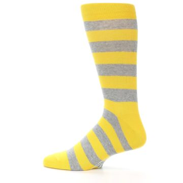 Image of Yellow Grey Stripe Men's Dress Socks (side-2-12)