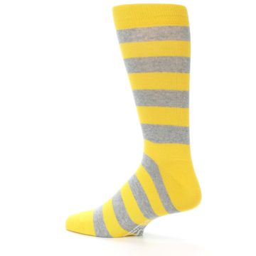Image of Yellow Grey Stripe Men's Dress Socks (side-2-13)