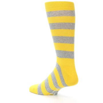 Image of Yellow Grey Stripe Men's Dress Socks (side-2-back-14)