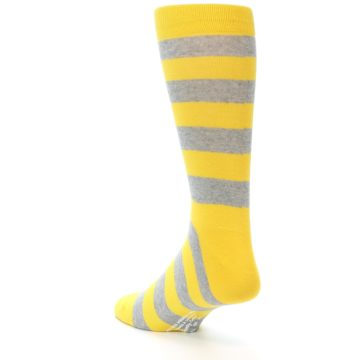 Image of Yellow Grey Stripe Men's Dress Socks (side-2-back-15)