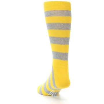 Image of Yellow Grey Stripe Men's Dress Socks (side-2-back-16)