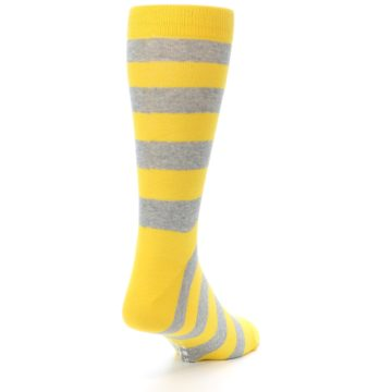 Image of Yellow Grey Stripe Men's Dress Socks (side-1-back-20)