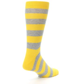 Image of Yellow Grey Stripe Men's Dress Socks (side-1-back-21)
