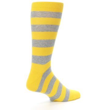 Image of Yellow Grey Stripe Men's Dress Socks (side-1-back-22)