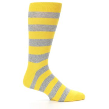 Image of Yellow Grey Stripe Men's Dress Socks (side-1-24)