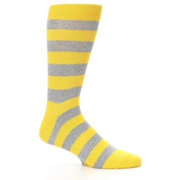 Image of Yellow Grey Stripe Men's Dress Socks (side-1-25)