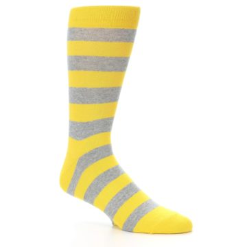 Image of Yellow Grey Stripe Men's Dress Socks (side-1-26)