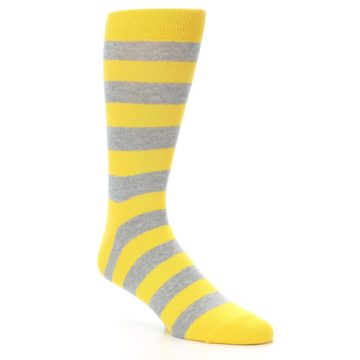 Image of Yellow Grey Stripe Men's Dress Socks (side-1-27)