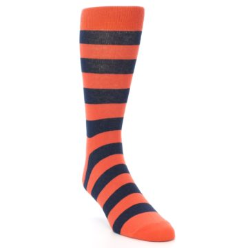 Image of Orange Navy Stripe Men's Dress Socks (side-1-front-02)