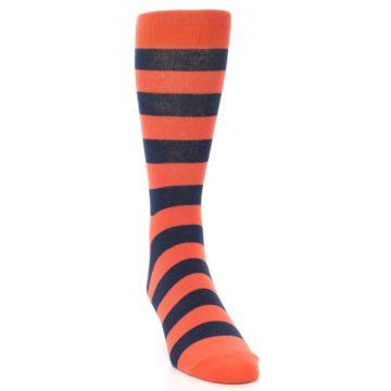Image of Orange Navy Stripe Men's Dress Socks (side-1-front-03)