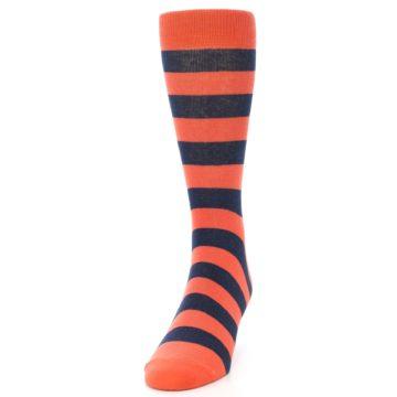 Image of Orange Navy Stripe Men's Dress Socks (side-2-front-06)