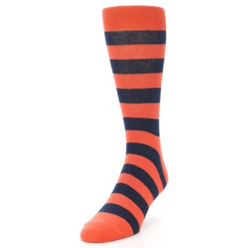 Image of Orange Navy Stripe Men's Dress Socks (side-2-front-07)