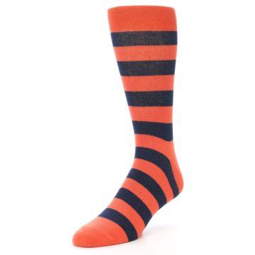 Image of Orange Navy Stripe Men's Dress Socks (side-2-front-08)
