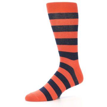 Image of Orange Navy Stripe Men's Dress Socks (side-2-10)