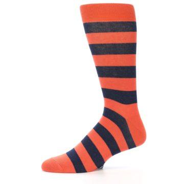 Image of Orange Navy Stripe Men's Dress Socks (side-2-11)