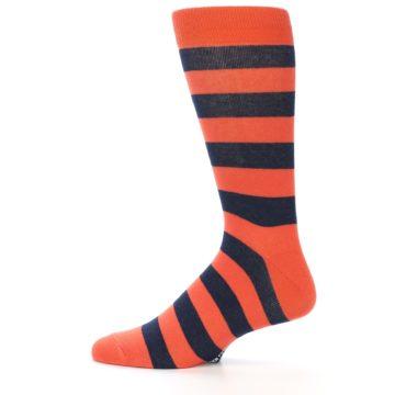 Image of Orange Navy Stripe Men's Dress Socks (side-2-12)