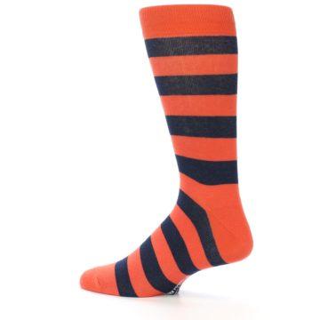 Image of Orange Navy Stripe Men's Dress Socks (side-2-13)