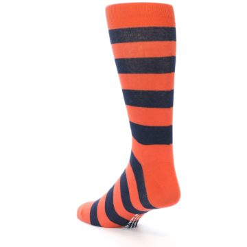 Image of Orange Navy Stripe Men's Dress Socks (side-2-back-15)