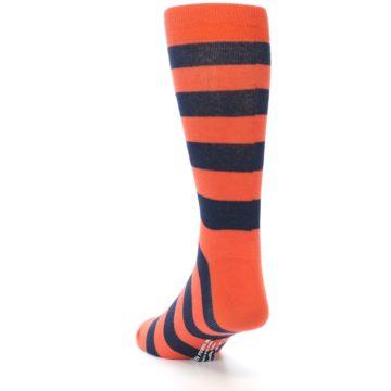 Image of Orange Navy Stripe Men's Dress Socks (side-2-back-16)