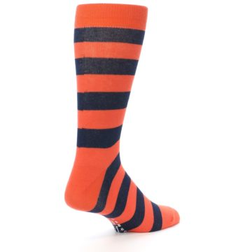 Image of Orange Navy Stripe Men's Dress Socks (side-1-back-22)